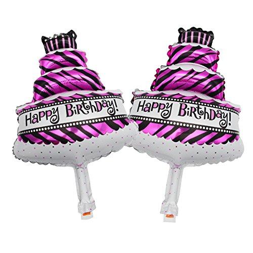Mochiglory 2 pcs Mini Helium Foil Balloons Pentagram Cake Champagne Wineglass Shape Kids Birthday Party Decorations