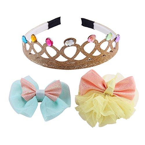 Novelties Glitter Tiara Birthday Girl Princess Party Tiaras and Hair Clip Set gold