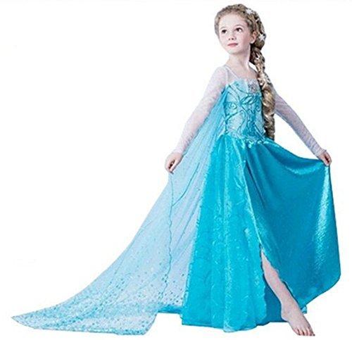 UK ELSA ANNA Girls Party Outfit Fancy Dress Snow Queen Princess Dress Halloween Costume Cosplay UK-FR312 3-4 years UK-FR312 by ELSA ANNA