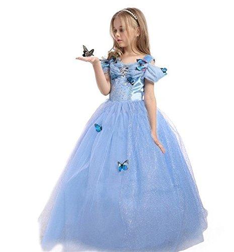UK ELSA ANNA Girls Party Outfit Fancy Dress Snow Queen Princess Halloween Costume Cosplay Dress UK-CNDR5 7-8 years UK-CNDR5 by ELSA ANNA