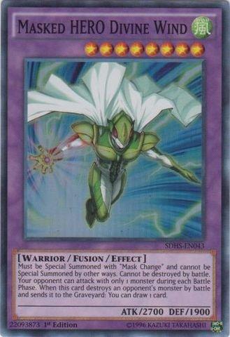 Yu-Gi-Oh - Masked HERO Divine Wind SDHS-EN043 - Structure Deck HERO Strike - 1st Edition - Super Rare