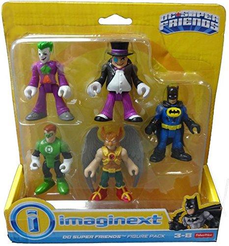 Fisher Price Imaginext DC Super Friends 5 Figure Pack - Joker Penguin Batman Hawk Man Green Lantern