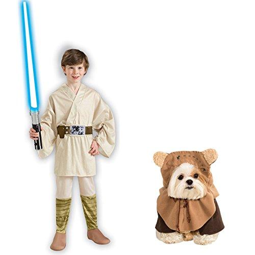 Rubies Star Wars Luke Skywalker Child Medium Ewok Pet Medium Bundle Set
