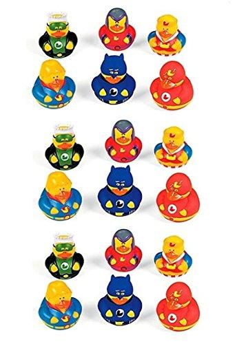 Lot Of 18 Super Hero Rubber Duck Party Favors - Superhero Duckys