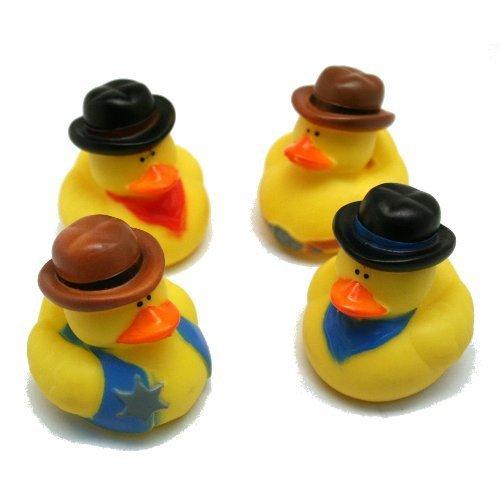 One Dozen 12 Cowboy Rubber Duck Party Favors by Fun Express