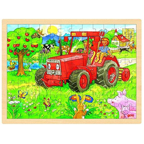 Goki Wooden Tractor Puzzle 96 Piece