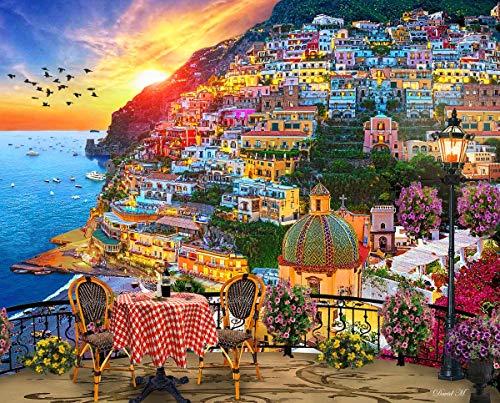 Springbok Puzzles - Positano Italy - 1000 Piece Jigsaw Puzzle - 24 by 30 - Made in USA - Unique Cut Interlocking Pieces Multicolor