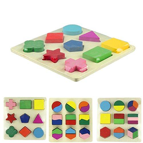 BinmerTM Newest Fashion Hot Sale Interesting Geometric Puzzle Wooden Shapes Jigsaw PuzzleA