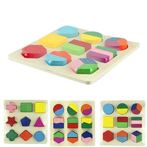 BinmerTM Newest Fashion Hot Sale Interesting Geometric Puzzle Wooden Shapes Jigsaw PuzzleB