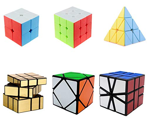Magic Cube Set Speed Cube 2x2 3x3 Pyramid Square-1 SQ1 Skewb Mirror Puzzle Cube Toy Puzzles for Kids and Adults Set of 6