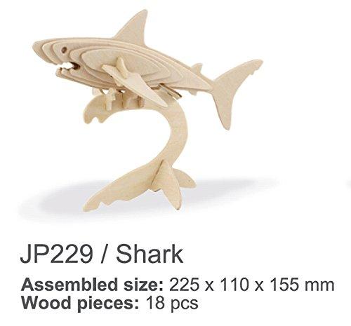 SunnytechÂ1pc 3D Wooden Jigsaw Puzzle Child Educational Woodcraft Puzzle Toy DIY Kit JP229 - Shark