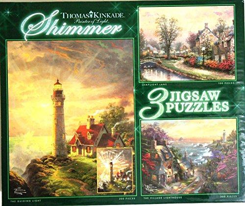 Ceaco Thomas Kinkade Shimmer 3 Puzzles Box Set Glitter Puzzle The Guiding Light The Village Lighthouse Lamplight Lane