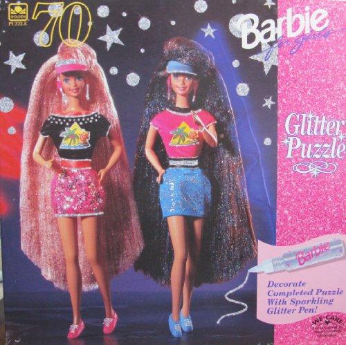 GLITTER HAIR Barbie Teresa GLITTER PUZZLE 70 Pieces Sparkling Glitter Pen 1994 Golden