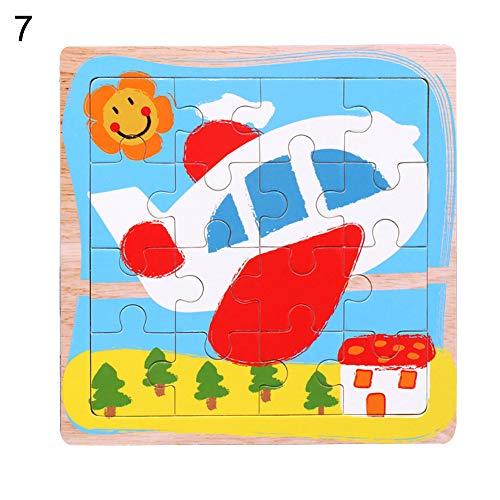 bromrefulgenc Puzzles Board ToyWooden Cartoon Plane Rocket Car Mosaic Jigsaw Puzzles Board Development Intelligence Toy for Toddler Plane