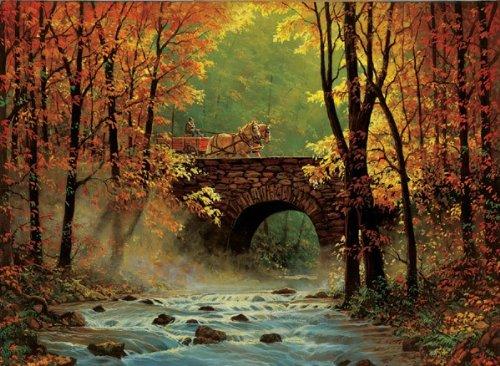 Autumn Bridge a 1500-Piece Jigsaw Puzzle by Sunsout Inc