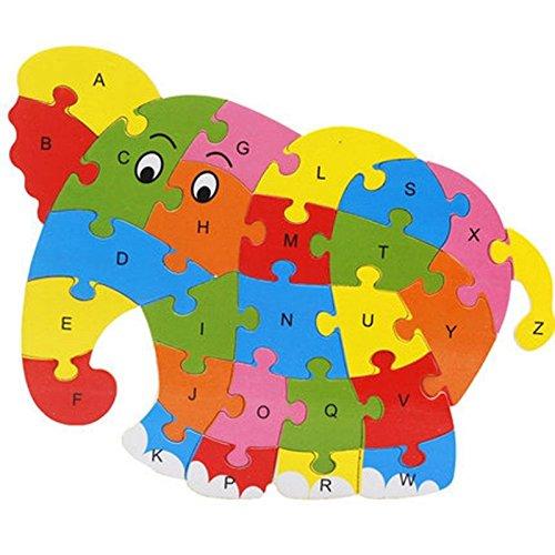 Lanlan Wooden Cartoon Elephant PuzzleIntelligence Jigsaw 26 Letter Blocks Kid Learing Educational Toy for Kids