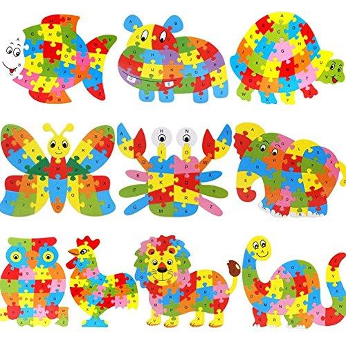 Lanlan Wooden Cartoon Plesiosaur PuzzleIntelligence Jigsaw 26 Letter Blocks Kid Learing Educational Toy for Kids