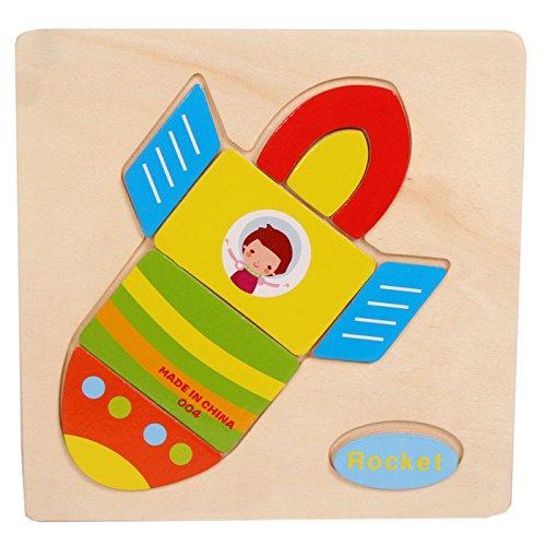 Baby Kids Education Toy FTXJ Cute Wooden Rocket Cartoon Puzzle Educational Developmental Baby Kids Training Toy