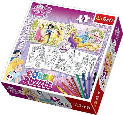 Color Puzzle Disney Princess Jigsaw Puzzles 2 x 48 Pieces by Trefl by Trefl