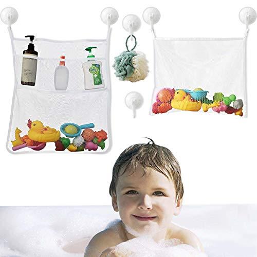 Bath Toy Organizer Mesh Storage Organizer Baby Shower Toys Bathtub Net Bag Kids Quick Dry Bathtub Mesh Net Bathtub Toy Holder 2 X Bathroom Storage Bag 6 X Strong Suction Hooks  White  Shower Caddy