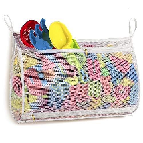 Tenrai Mesh Bath Toy Organizer Bathtub Storage Bag Multi-Purpose Baby Toys Net Toddler Shower Caddy for Bathroom Quick Drying Kids Toy Holder 14 x 20  White