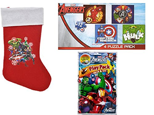 Avengers Puzzle Play Pack And Christmas Stocking Bundle