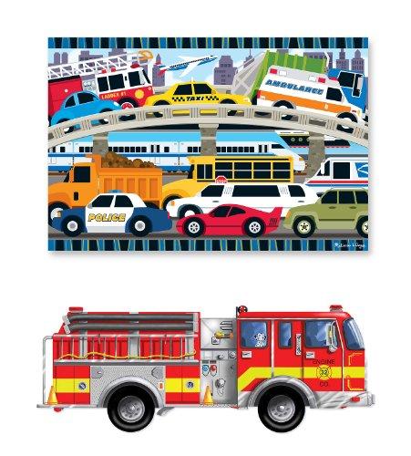 3 Item Bundle Melissa Doug 436 Firetruck and 4421 Traffic Jam Floor Puzzles  Free Activity Book
