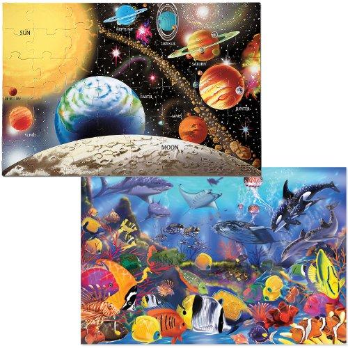 Melissa Doug Jumbo Jigsaw Floor Puzzle Set - Solar System and Underwater 2 x 3 feet each