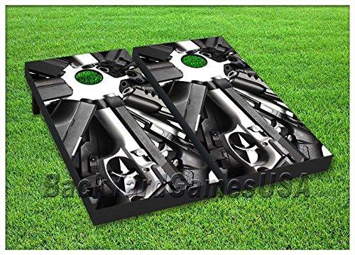 CORNHOLE Set BEANBAG TOSS GAME w Bags Hand Gun Pistol Corn Hole Shot Boards 42