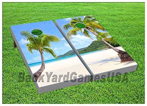 CORNHOLE Set BEANBAG TOSS GAME w Bags Palm Tree Beach Island Paradise Boards 64