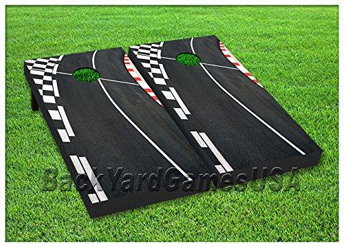 Cornhole Race Track Boards BEANBAG TOSS GAME w Bags Set 2