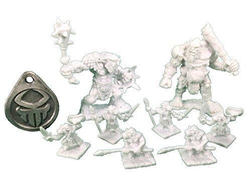 Reaper Army 4 Item Bundle - Kobolds 6 Bugbear Warrior Ogre Chieftain Dice Bag Fob Randomly Selected by Dark Heaven Bones Miniature
