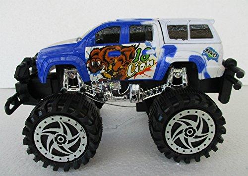 White Blue Bugbear Power Champion Friction Big Wheel Super Power Pickup Truck