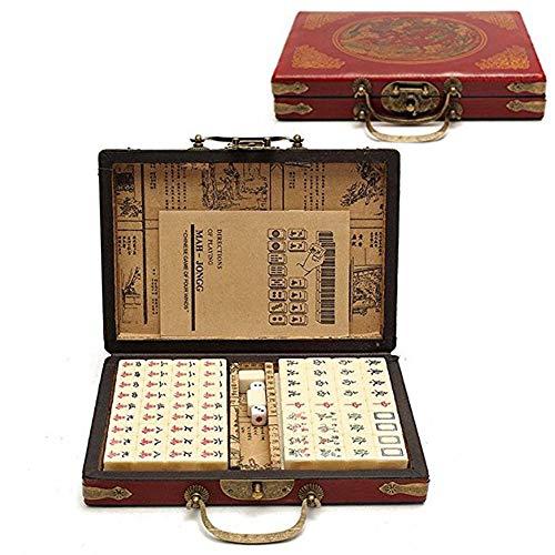 Mahjong SetMini Mahjong Portable Chinese Traditional Games Set144 Pcs Mahjong Board Game Set with NumbersIncludes Storage BoxEnglish Manual