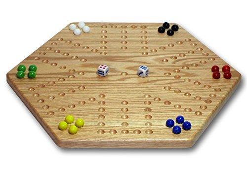 Solid Oak Double-sided 16 Aggravation Wahoo Board Game Set by AmishToyBoxcom