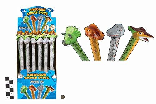 10 X 42cm Dinosaur Groan Tube - Slide Up  Down For Sound - Party Bag Toys
