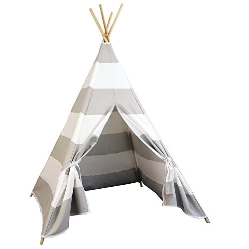 Free Love white and grey stripe color kids play tent indian teepee playhouse
