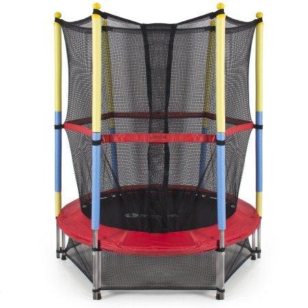 55 Round Kids Mini Trampoline w Enclosure Net Pad Rebounder Outdoor Exercise