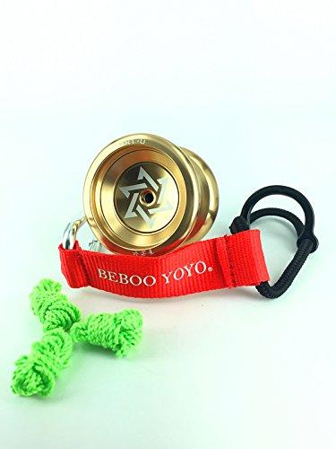 Wisamic Yoyo Sharp Star Professional Bearing Alloy Aluminum SmartU Yo-Yos Balls Yoyo Ball with Strings Glove HookHolder-Gold