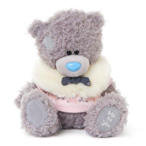 Me to You 7-inch Tatty Teddy Bear Wearing a Fluffy Shrug Sits Grey