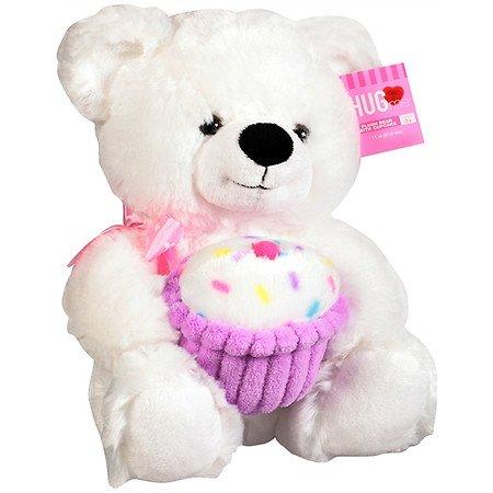 11 Plush White Birthday Teddy Bear with Purple CupCake