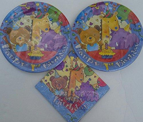 Babys 1st Birthday Teddy Bear Giraffe Elephant Celebration Theme Plates 16 and Napkins 16