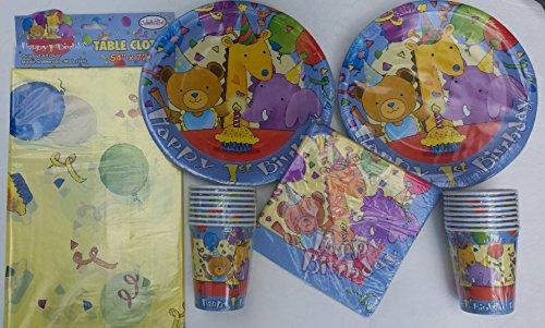 Babys 1st Birthday Teddy Bear Giraffe Elephant Celebration Theme Plates Cups Napkins and Tablecover