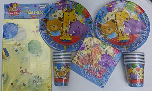 Babys 1st Birthday Teddy Bear Giraffe Elephant Celebration Theme Plates Cups Napkins and Tablecover by Celebrate