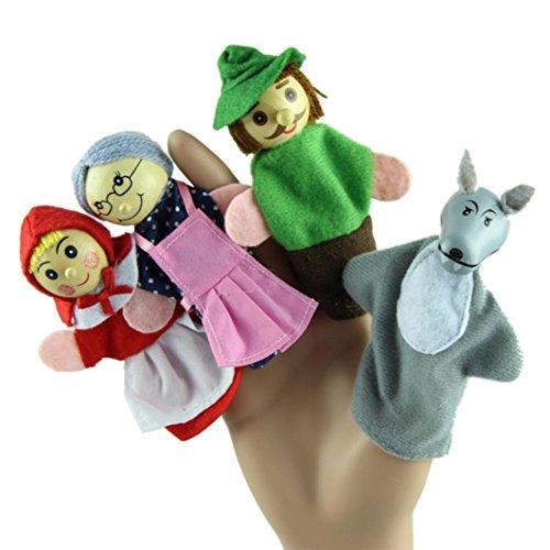 Start 4PCSSet Little Red Riding Hood Finger Puppet Toys Storytelling Doll