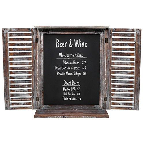 Rustic Vintage Wood Standing Chalkboard  Wall Mounted Blackboard w Folding Shutter Doors - MyGiftÂ