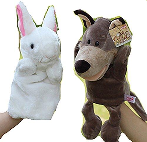 HLDIY 2pcslot Babies Animal Rabbit Wolf Hand Puppet Toys