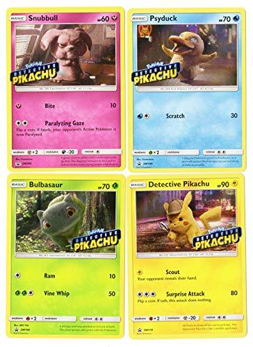 Detective Pikachu Movie Promo Card Lot - 4 Card Set - PikachuPsyduckBulbasaurSnubbull