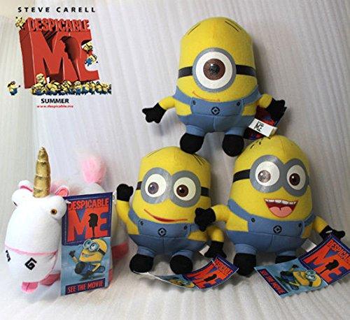 4X Despicable Me Plush Fluffy Unicorn Minions Soft Toy Stuffed Animal Teddy
