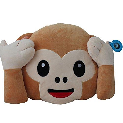 Dolphineshow Kids Soft Plush Emoji Monkey Pillow I Dont Want Think